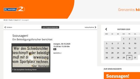 Screenshot der Webseite von Bayern 2 mit dem Titel der Sendung, weiß mit orangem Feld