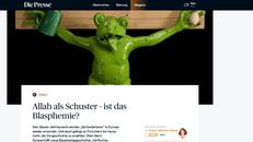 Screenshot der Überschrift des Online-Artikels mit einem gekreuzigten Frosch im Hintergrund