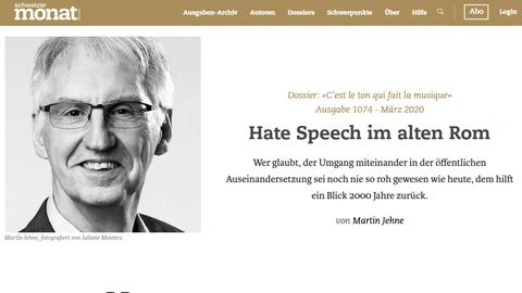 Ausschnitt aus einem Zeitungsartikel über Hate Speech im alten Rom, Martin Jehne im Schweizer Monat