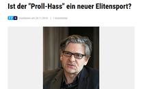 """Neuer Medienbericht: """" Ist der 'Proll-Hass' ein neuer Elitensport?"""", Freie Presse vom 20.11.2018"""