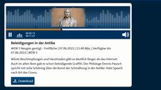 Screenshot der Website mit dem Titel des Audio-Beitrages und einer Büste von Cicero