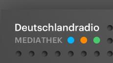 Logo Deutschlandradio Mediathek, weiße Schrift auf grau