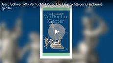 Screenshot der Webseite mit dem Audio-Beitrag, zu sehen ist das Buchcover von Verfluchte Götter