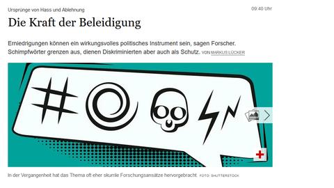 """Tagesspiegel: Beitrag """"die Kraft der Beleidigung"""" mit Marina Münkler vom 21.08.2019, Bildausschnitt aus dem Zeitungsartikel mit Grafik: Sprechblase mit Symbolen, die Fluchen anzeigen"""