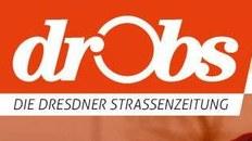LOGO der Zeitschrift: DROBS, die Straßenzeitschrift für Dresden und Umland. Weiße Schrift mit roten Hintergrund.