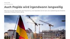 Bildausschnitt des Online-Artikels von Martin Jehne in der Sächsischen Zeitung mit Überschrift und Foto einer Pegida-Versammlung