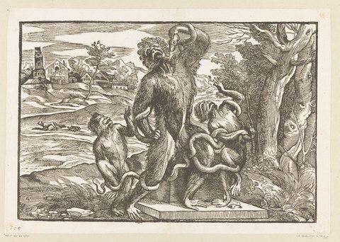 Niccolò Boldrini (nach Tizian), Der Affenlaokoon, ca. 1540–1545, Holzschnitt, 30,1 × 43,6 cm, Amsterdam, Rijksmuseum