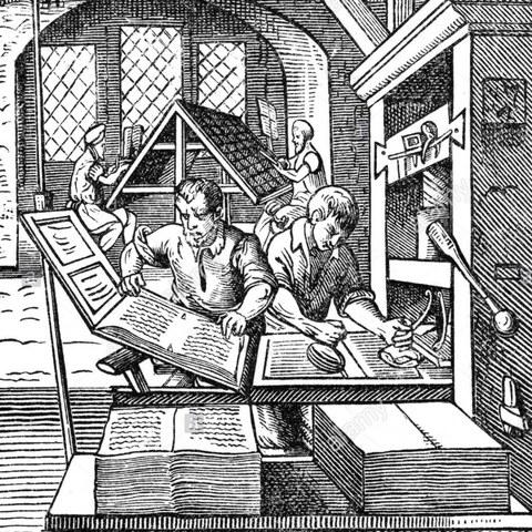 frühneuzeitliche Druckgrafik: Innenansicht einer Druckwerkstatt
