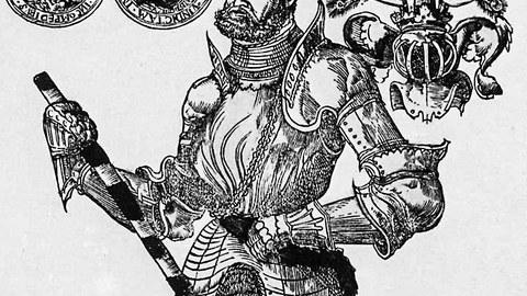 Frühneuzeitliche Druckgraphik: Schmähende Darstellung Herzog Heinrichs von Braunschweig Wolfenbüttel nach einer verlorenen Schlacht.
