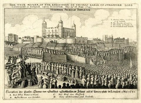 Frühneuzeitliches, illustriertes Flugblatt. Dargestellt ist eine Hinrichtung mit viel Publikum.