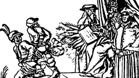 Frühneuzeitliche Druckgraphik: Zwei Handwerker die eine Papstbulle mit enblöstem Hintern und visualisiertem Furz abwehren