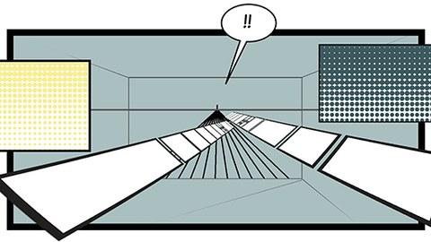 Abstrakte Zeichnung. Rechtecke verschiedener Größen und Ausrichtung sowie einfache Linien für in einen großen dreidimensionalen rechteckigen Raum. In der Mitte befindet sich eine SPrechblase mit zwei Ausrufezeichen.
