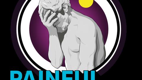 """Zeichnung: Sokrates begräbt seinen Kopf in seiner rechten Hand. Über ihm steht in einer Gedankenblase """"Cringe"""" geschrieben. Unterhalb des Bildes steht """"Painful Laughter"""" in großen Buchstaben."""