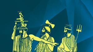 Grafik, Gelb vor grünem Hintergrund: Geburt der Athene wie auf einer griechischen Vase gezeigt