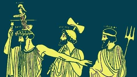 Verfremdete Vasendarstellung der Geburt der Athene aus dem Kopf des Zeus, gelb auf grün