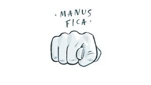 Bild einer sogenannten Manus Fica, also einer obszönen Geste, bei der der Daumen zwischen Zeige- und Mittelfinger hindurchgesteckt wird, während der Rest der Hand eine Faust ballt. Das Bild ist weiß im Comic-Stil.