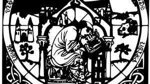 Bild schwarzweiß schreibender Mönch