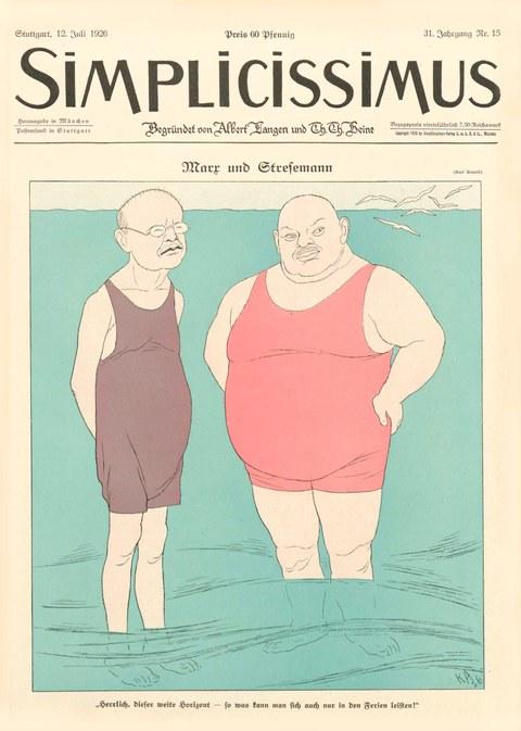 Frontcover einer Simplicissimus-Ausgabe, 2 Herren (Marx und Stresemann) im Badeanzug stehen im Wasser