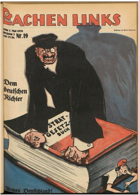 """Cover der Satirezeitschrift """"Lachen Links"""" von 1926. Richter zerquetscht Michel mit Strafgesetzbuch"""