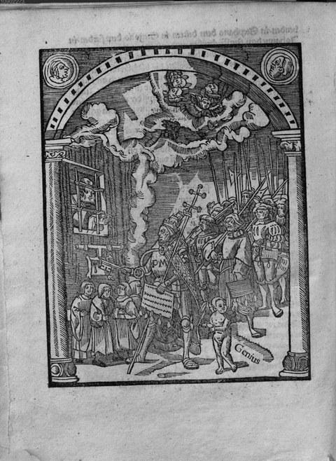 Papst Julius vor dem Himmelstor - Von der Gewalt und Haupt der Kirchen (Speyer, Johann Eckhart 1521)