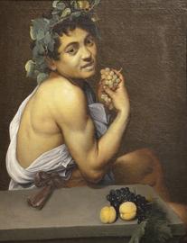 Gemälde von Caravaggio: Ein Bacchus mit Trauben in der Hand