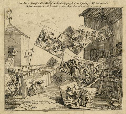 Zeichnung von William Hogarth, The Battle of Pictures. Gezeichnet sind lauter Gemälde