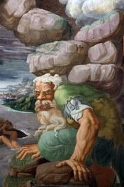 Gemälde von Giulio Romano, Gigantensturz, wobei die Giganten Gemälde von Michelangelo parodieren
