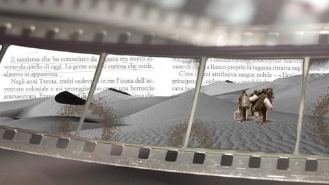 Bild einer Filmrolle, darauf zu sehen eine Wüste und ein italienischer taxt als Collage