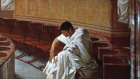 Gemälde Cicero gegen Catilina vor Gericht, Bildausschnitt mit Catilina