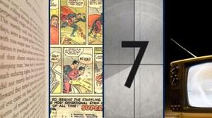Bildcollage: Ausschnitt eines Buches, eines Comics, der beginn eines Films und ein Fernseher