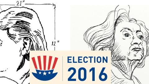 Karikaturen von Donald Trump und Hilary Clinton. Zwischen Ihnen die Überschrift ind rot, blau, weiß: Election 2016