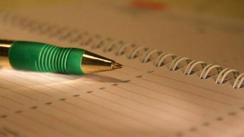 Stift auf Terminkalender