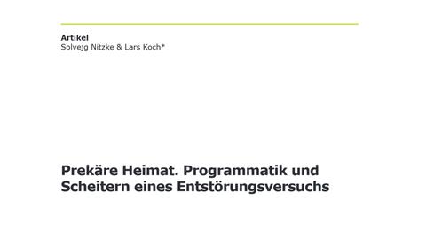 Prekäre Heimat_Nitzke/Koch