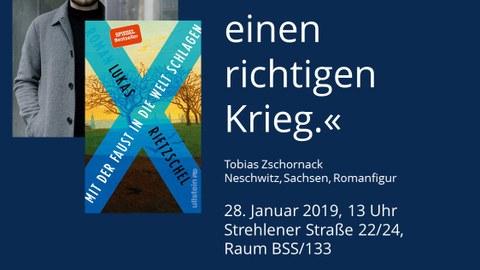 Plakat zur Ankündigung von Diskussion und Studierendengespräch mit Lukas Rietzschel am 28.01.19