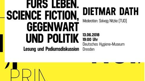 """Plakat zur Ankündigung des Vortrags von Dietmar Dath im Rahmen der Vortragsreihe """"Figuren der Störung"""" am 13.06.18 im Deutschen Hygiene-Museum Dresden"""