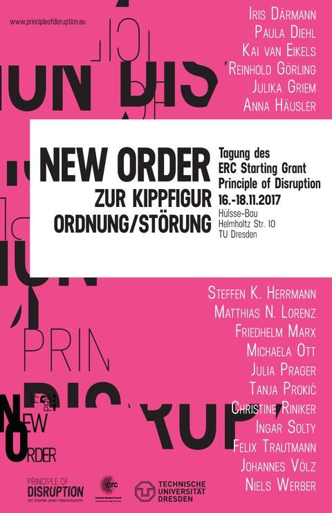 """Plakat zur Ankündigung der ERC-Abschlusstagung """"New Order"""" vom 16. bis 18. November 2017"""