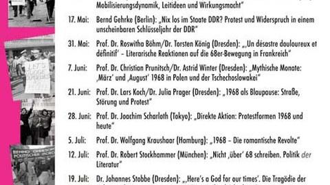 """Plakat zur Ringvorlesung """"50 Jahre 1968"""" im Sommersemester 2018 an der TU Dresden"""