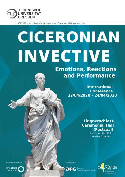 Poster mit den Informationen zur Veranstaltung. Daneben eine Marmorstatue mit der Aufschrift: Cicerone.