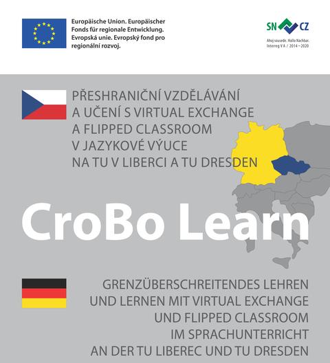 Plakat mit deutscher und tschechischer Flagge,Umriss Europas und dem Titel CroBo Learn