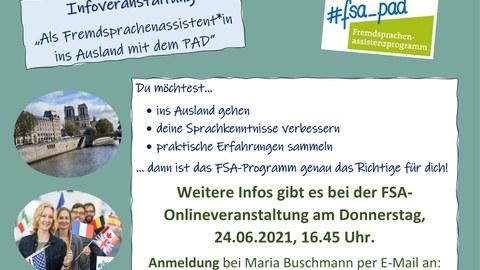 Auf dem Bild stehen die Informationen zur Anmeldung zur Infoveranstaltung: Anmeldung an Maria Buschmann unter dresden@fsa_pad.de