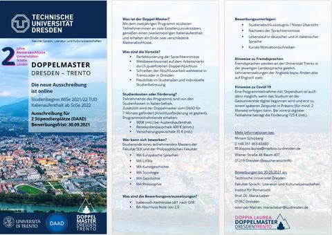 Ausschreibung für zwei Stipendienplätze im Doppel-Master-Programm Dresden Trento