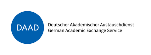 Blauer Kreis mit Buchstaben D A A D, abgekürzt von Deutscher Akademischer Austauschdienst