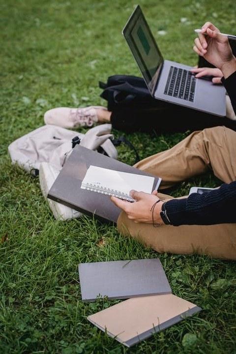Personen mit Laptops sitzend auf Wiese