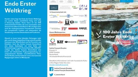 """Flyer zur Veranstaltungsreihe des Institut français Dresden """"100 x 100 - 100 Jahre Ende Erster Weltkrieg"""" Ende 2018, Seite 1"""