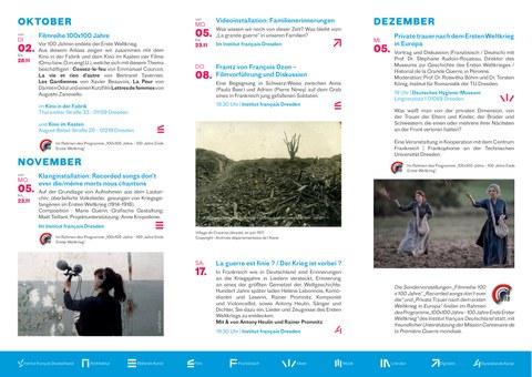"""Flyer zur Veranstaltungsreihe des Institut français Dresden """"100 x 100 - 100 Jahre Ende Erster Weltkrieg"""" Ende 2018, Seite 2"""