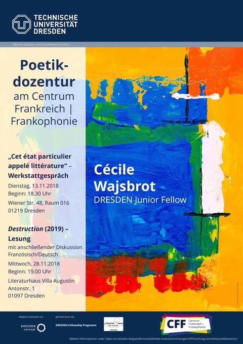 Plakat zur Ankündigung von Werkstattgespräch und Lesung mit der Schriftstellerin und DRESDEN Fellow Cécile Wajsbrot im November 2018 am CFF an der TU Dresden