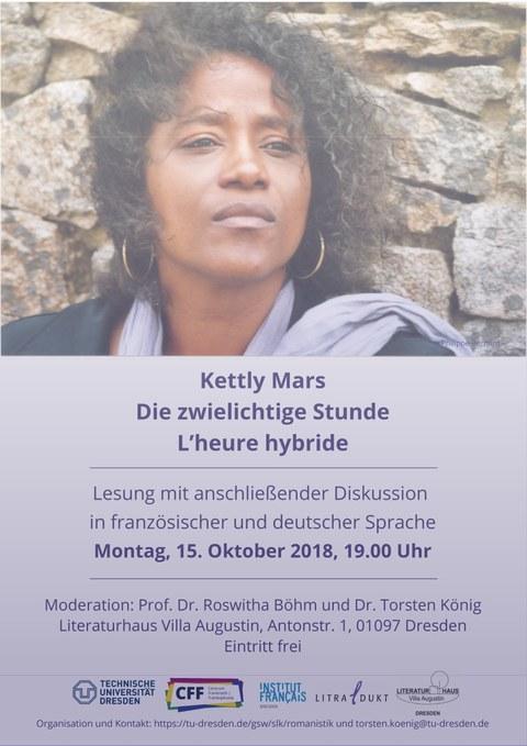 """Plakat zur Ankündigung der Lesung von Kettly Mars """"Die zwielichtige Stunde. L'heure hybride"""" am Montag, 15. Oktober 2018 im Literaturhaus Villa Augustin in Dresden"""