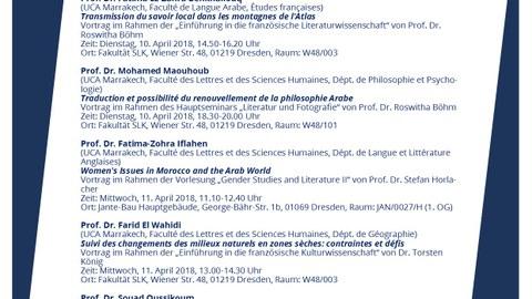 Plakat zur Ankündigung der Gastvorträge der Erasmus+-Gäste aus Marrakech vom 9. bis 13. April 2018 am Centrum Frankreich| Frankophonie an der TU Dresden