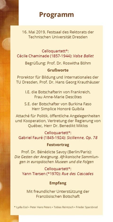 Programm der feierlichen Eröffnung des Centrums Frankreich   Frankophonie an der TU Dresden am 16. Mai 2019 im Festsaal des Rektorats der TU Dresden
