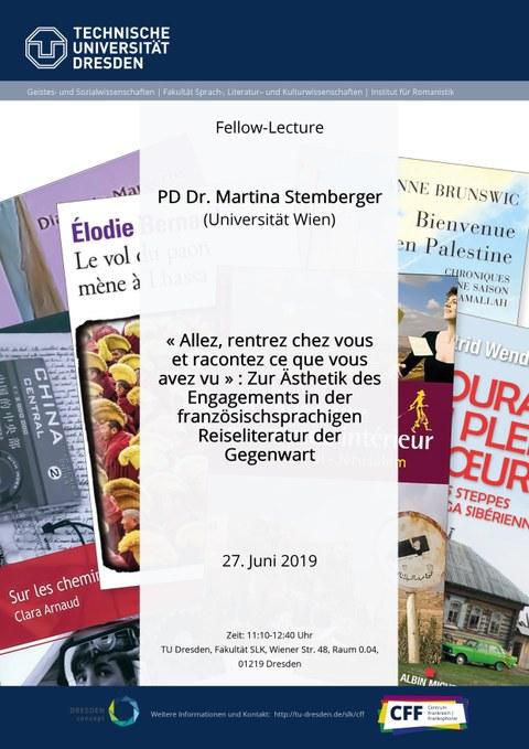 Plakat zur Ankündigung der Fellow-Lecture von PD Dr. Martina Stemberger (Universität Wien) am Centrum Frankreich | Frankophonie der TU Dresden am 27. Juni 2019